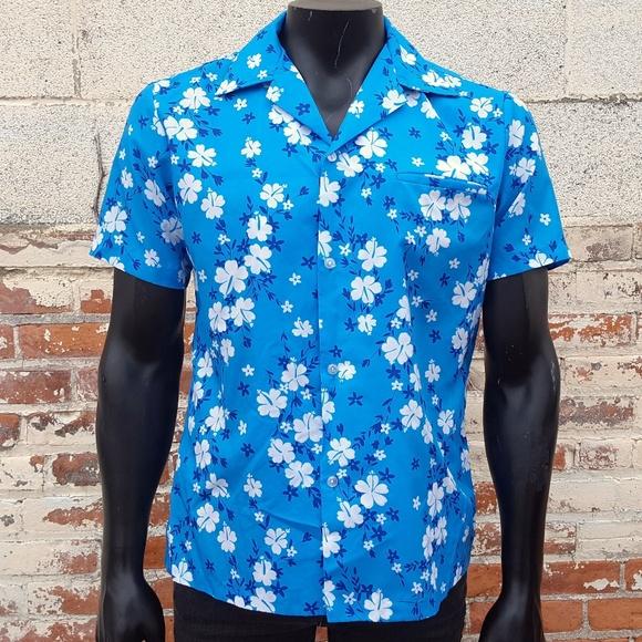 e572c213 Vintage Shirts | 70s Hawaiian Shirt Blue Floral Aloha Camp | Poshmark
